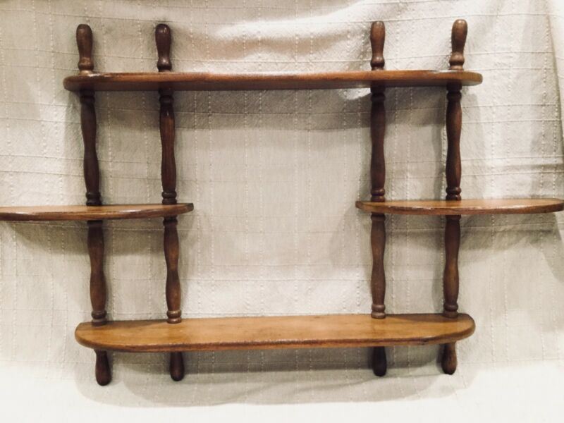 $56 • Buy Vtg WOOD Wooden Wall Decor Curio 5 Tiers Spindle MCM Mid-Century Display Shelf