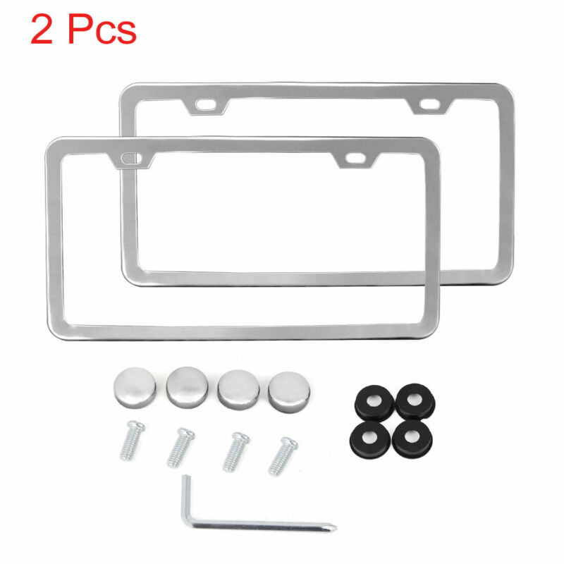 $13.15 • Buy 2Pcs Stainless Steel License Plate Frame W Screw Caps Thin 2 Hole-Silver Tone