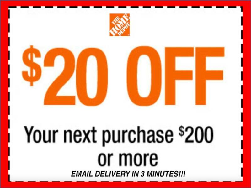$2.49 • Buy ONE 1x Home Depot Coupon $20 OFF $200 In-Store-Only---lNSTANT DELIVERY-NOW
