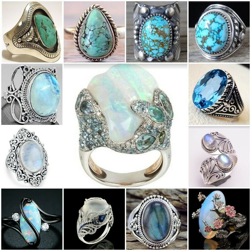 $2.52 • Buy Antique 925 Silver Turquoise Moonstone Ring Women Man Wedding Jewelry Party Gift