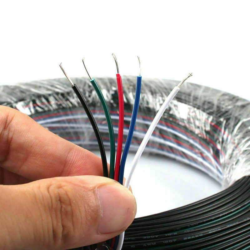 5-PIN RGB Extension Connector Wire Cable Cord For RGBW RGBWW LED Strip Light • 5.99$