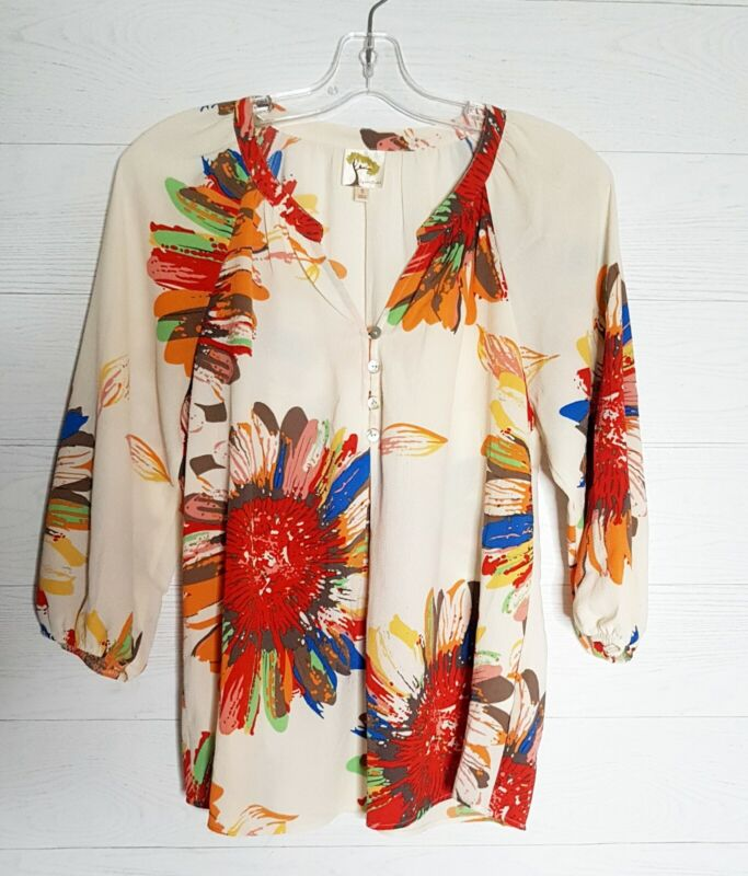 $ CDN39.50 • Buy Anthropologie  Fig And Flower Women's Small  Paisley/Floral3/4 Sleeve Blouse