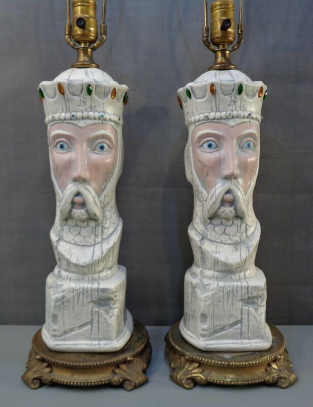 $179.95 • Buy 2 Vintage Large Jeweled King Table Lamps Man Cave Chess Medieval Gothic Pair