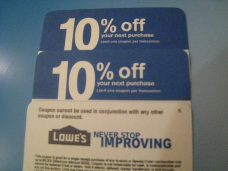 $4.99 • Buy (5X) Home Depot 10% OFF! Exp 6/15/20 Lowes Coupon ONLY WORKS @ COMPETITOR