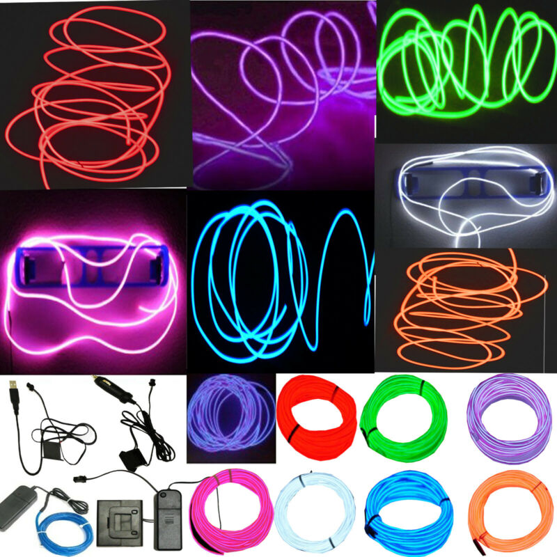 $7.92 • Buy Neon LED Light Glow EL Wire String Strip Rope Tube Decor Car Party + Controller