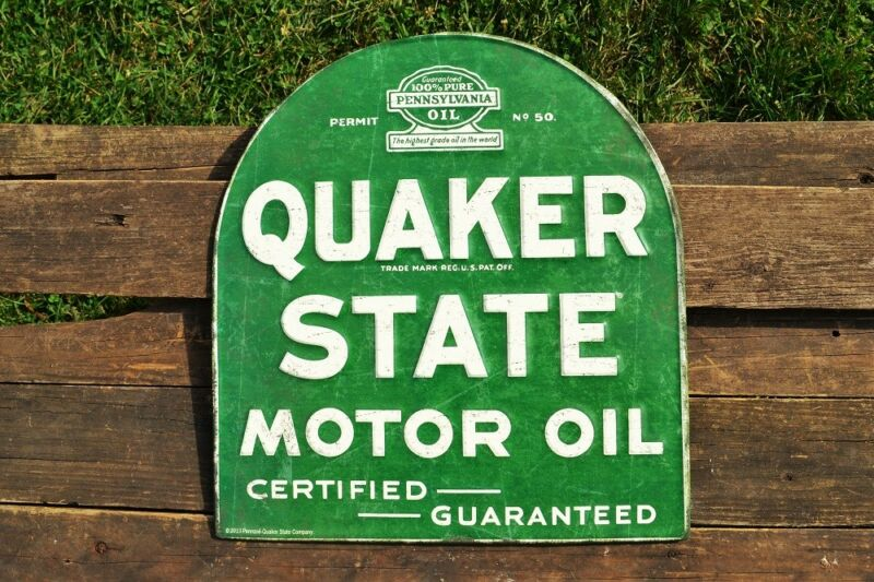 Quaker State Motor Oil Embossed Tin Metal Sign - Gasoline - Retro - Tombstone • 49.97$