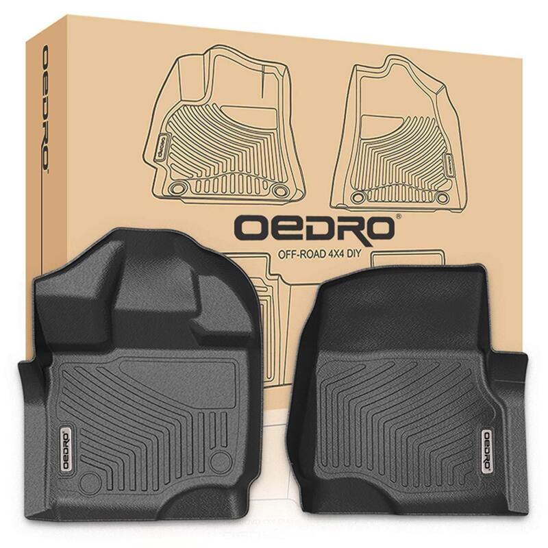 OEdRo Front Floor Mats For 2015-2020 Ford F150 Super Crew/SuperCab Black Liners • 55.99$