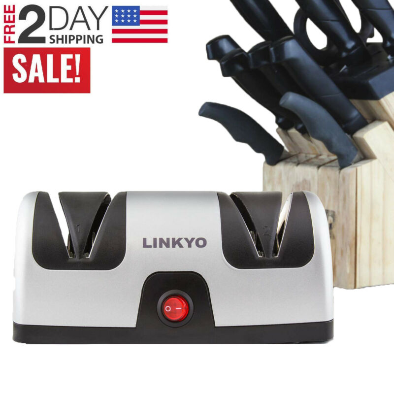 Electric Knife Sharpener Professional Kitchen 2 Stage Sharpening System Tool • 24.99$