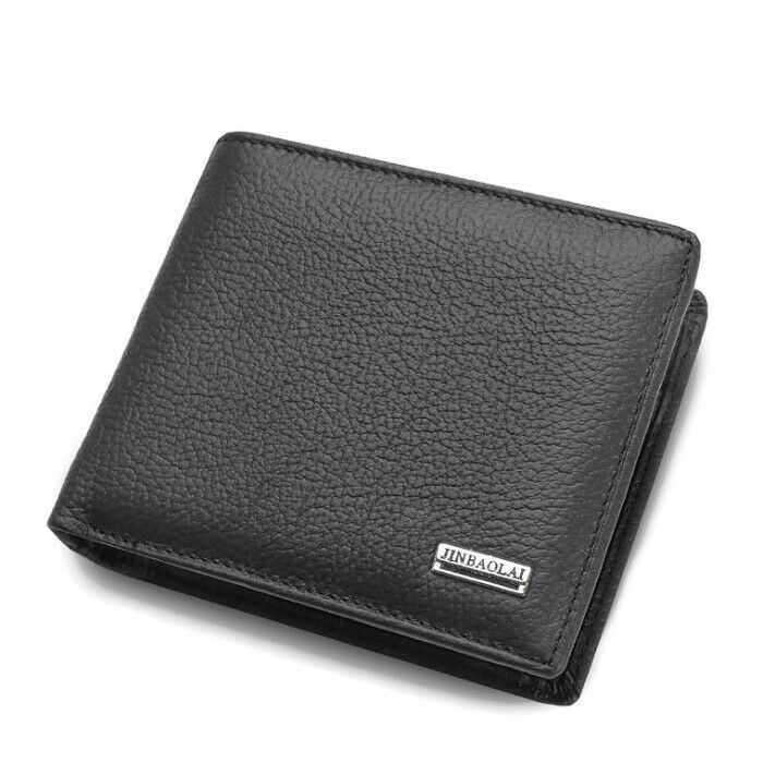 AU15.95 • Buy Mens Wallet Black Bi Fold With Top Layer Cowhide Leather Card Slots Coin Pocket