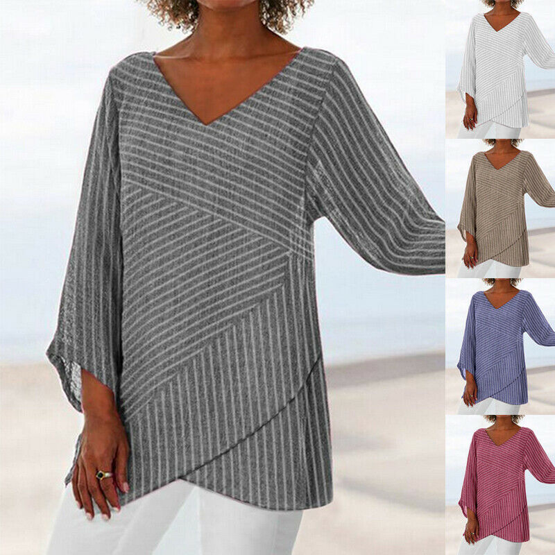 AU15.99 • Buy Women Casual Loose V Neck Striped Irregular Long Sleeve Shirts Blouse Tunic Tops
