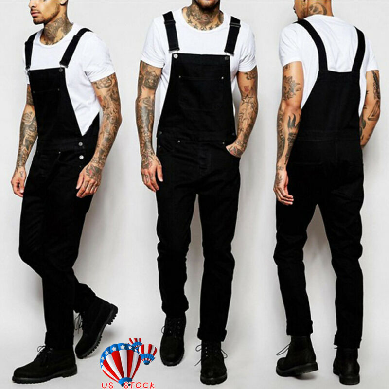price reduced temperament shoes really cheap Mens Black Denim Overalls