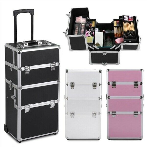 Professional Large Makeup Rolling Trolley 2-in-1  4 Wheel Aluminum Beauty Case  • 61.99$