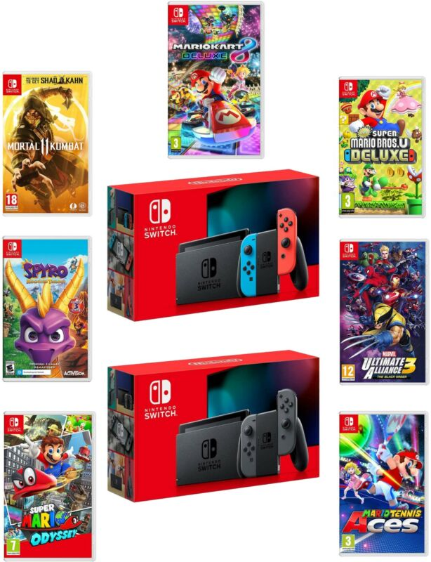 $359.95 • Buy Nintendo Switch Console New 2019 Version With Choice Of Game Bundle