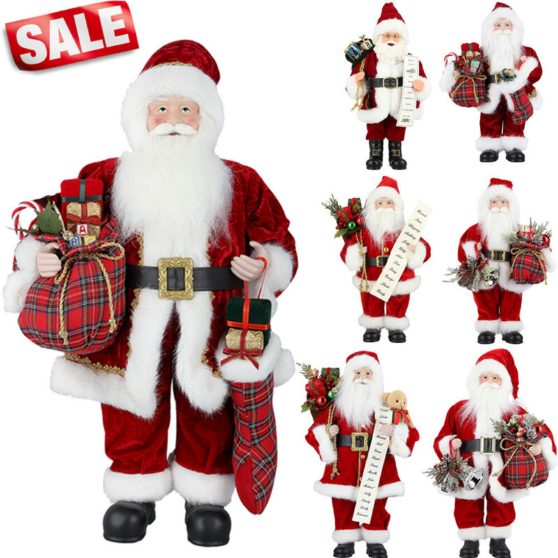 $6.99 • Buy Santa Claus Standing Father Christmas Figure Doll Ornament Indoor Decoration LOT