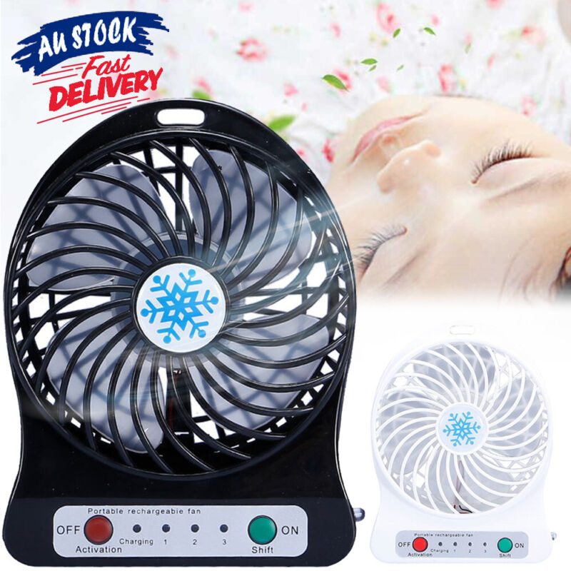 AU10.99 • Buy Portable Operated Charging Fan Cooler Battery Mini Air Light LED USB
