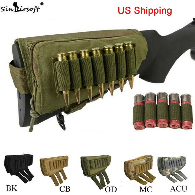 Rifle Buttstock Pack Bag Cheek Pad Rest Shell Mag Ammo Pouch Pocket Holder USWC • 8.54$