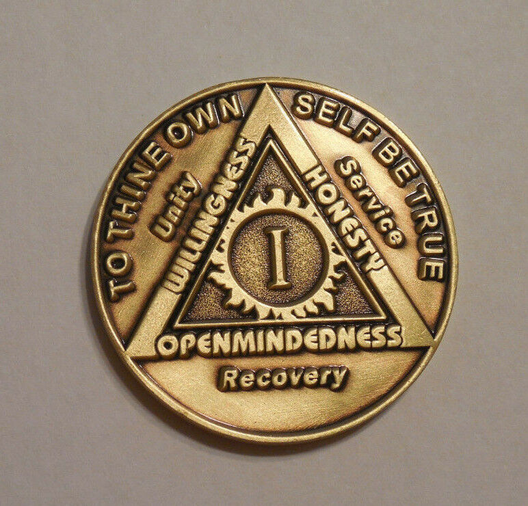 $3.80 • Buy Aa 1 Year Bronze Coin Chip Medallion Alcoholics Anonymous New