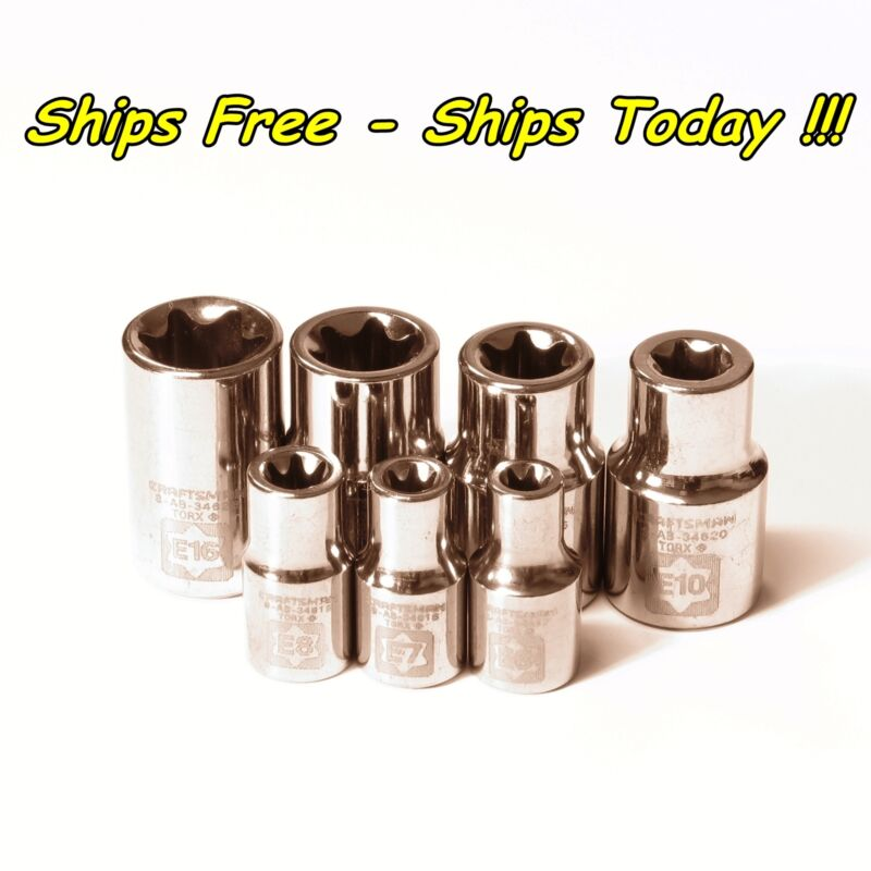 $14.77 • Buy Craftsman 7pc External E Torx Socket Set 1/4 3/8 E6 E7 E8 E10 E12 E14 E16 Female