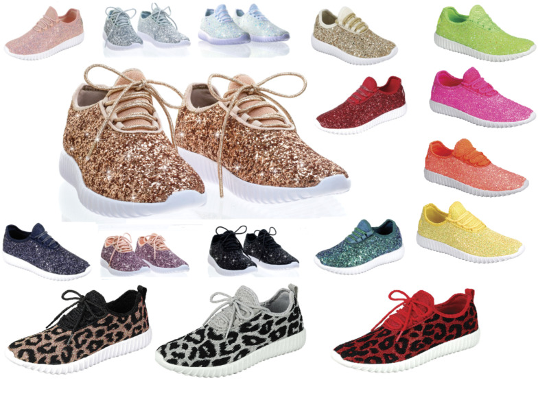 New Women's Sequin Glitter Lace Up Fashion Shoes Comfort Athletic Sneakers  • 22.95$