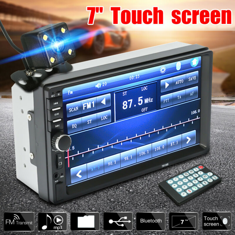 7  Double 2Din Touch Screen Car MP5 MP3 Player Bluetooth Stereo FM Radio Camera • 47.99$