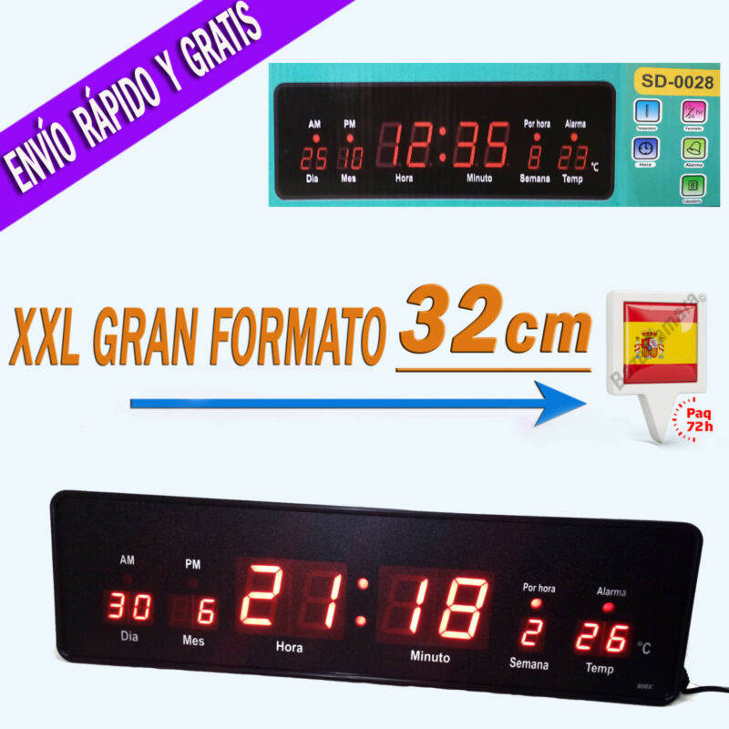 a852068ba2d2 Reloj De Pared Digital Grande Oficina LED Rojo Con Temperatura Y Calendario  220v • 21.95€