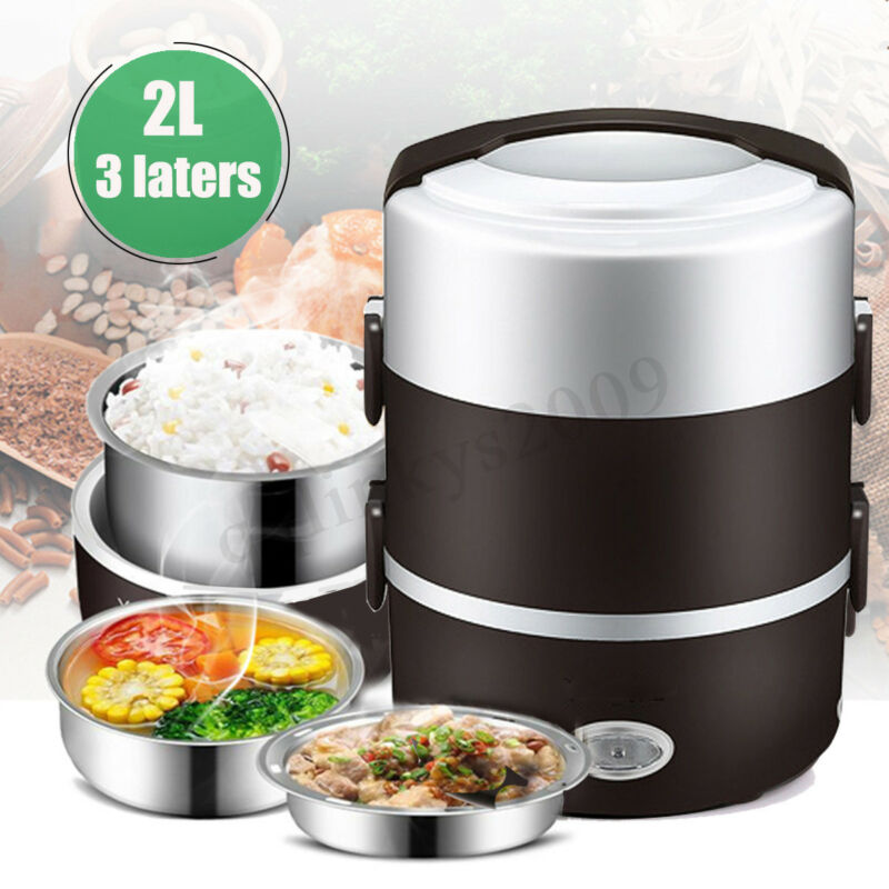 AU29.69 • Buy AUS 2L 3 Layer Portable Electric Lunch Box Rice Cooker Stainless Steamer Pot