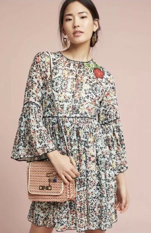 $ CDN90 • Buy Anthropologie Libra Embroidered Dress 4 Small
