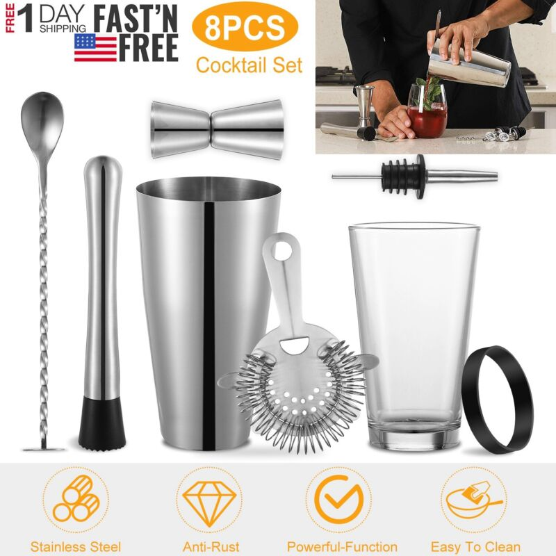 8Pc Cocktail Shaker Set Stainless Steel Bartender Kit Professional Mixology Tool • 22.66$