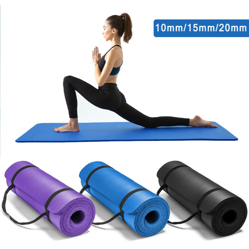 AU28.99 • Buy 10/15/20MM Thick NBR Yoga Mat Pad Nonslip Exercise Fitness Pilate Gym Mats NEW