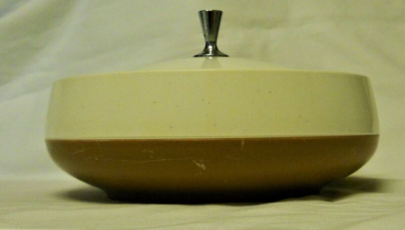 Mid Century Vacron Bopp-decker Plastics Brown And White Insulated Serving Bowl W • 9.99$