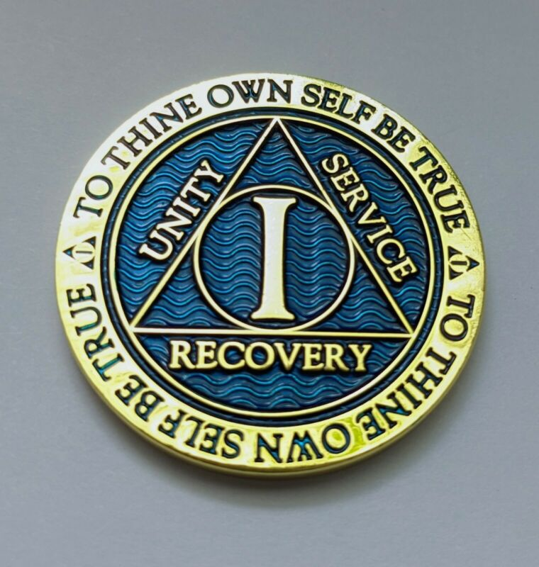 $9.99 • Buy 1 Year Sobriety Chip Alcoholics Anonymous Gold Plated Blue AA Coin Medallion