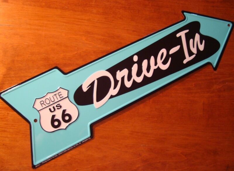 DRIVE-IN ARROW ROUTE 66 ROAD STREET SIGN Vintage Style Diner Drive In Decor NEW • 9.98$
