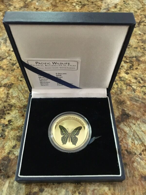 $105 • Buy Palau Pacific Wildlife Papilio Pericles Butterfly 5$ 2008 Proof Coin