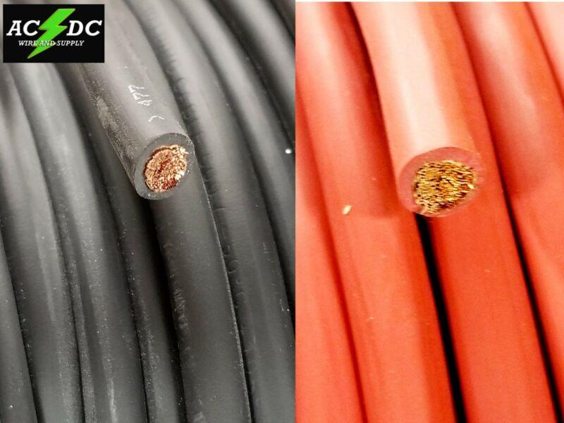 2 Gauge AWG Welding Lead & Car Battery Cable Copper Wire MADE IN USA SOLAR  • 23.99$