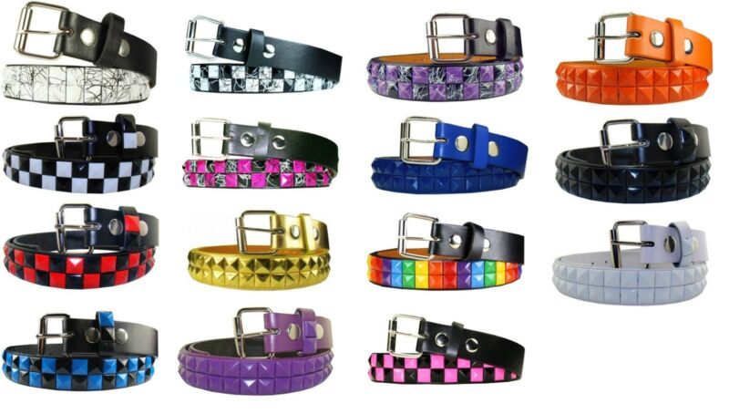 $6.48 • Buy Childrens Kids 2 Row Metal Pyramid Studded Leather Belt W/ Removable Buckle