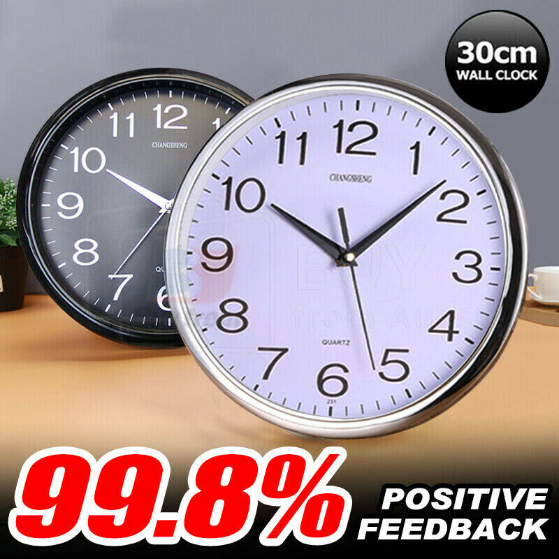 AU13.85 • Buy Wall Clock Quartz Round Wall Clock Silent Non Ticking Battery Operated 12 Inch