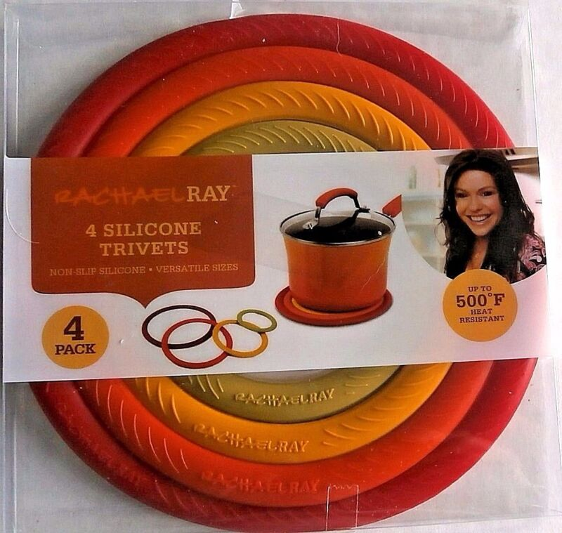 $11.99 • Buy RACHAEL RAY SILICONE TRIVETS  4 Pack Red Orange Yellow Green NEW