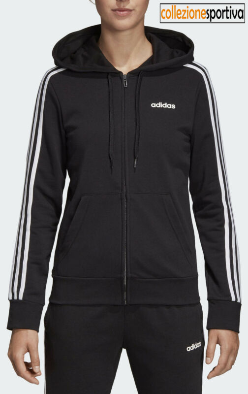 finest selection 5f65c 18deb FELPA RAGAZZA DONNA ADIDAS ESSENTIALS 3 STRIPES HOODIE - DP2419 Col. Nero  bianco