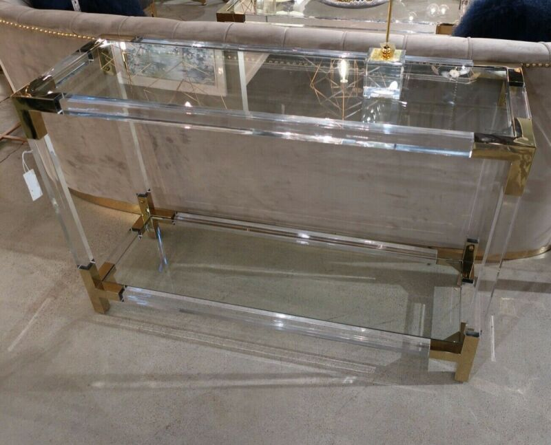 $1279.80 • Buy Modern Acrylic Lucite Brass Glass Console Sofa Table Jacques Style MidCentury