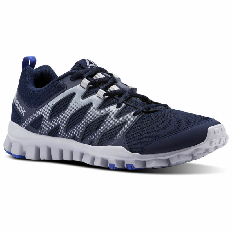 5a90b842a0c0 Reebok Realflex Train 4.0 CN1169 Navy Blue Gray White Mens Light Shoes Size  10.5 • 56.95