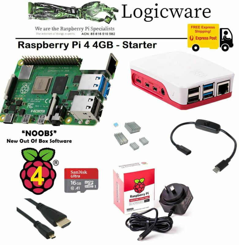 AU143.95 • Buy Raspberry Pi 4 Model B 4GB Starter Pack   Great Set Of Accessories As Pictured