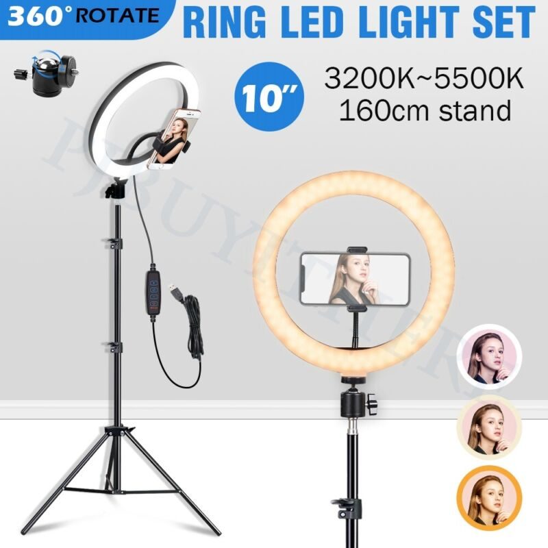AU37.88 • Buy Photography Dimmable Led Ring Light Stand Lighting Kit Phone Makeup Selfie Video