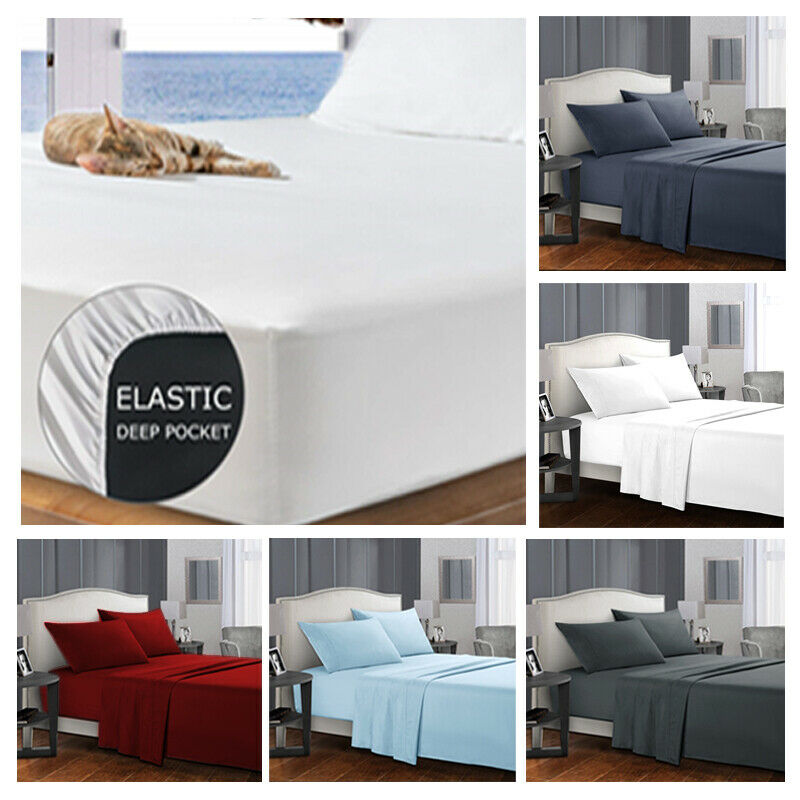 AU31.99 • Buy 4 Pieces Bed Sheet Set Queen/King/Double/Single Breathable Brushed Microfiber