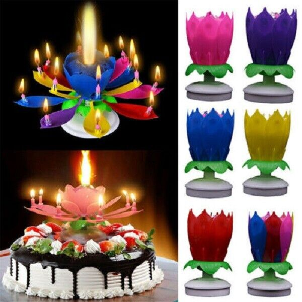 $ CDN4.33 • Buy Upgrade Multicolor Rotating Double Lotus Cake Candle Magic Cake Birthday Candles
