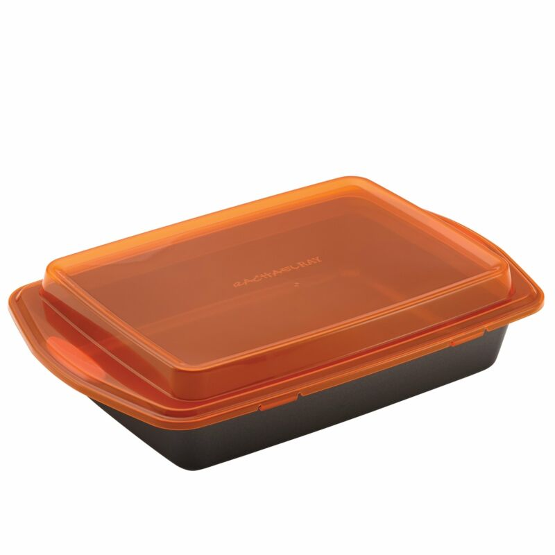 $19.95 • Buy Rachael Ray Nonstick Bakeware 9-Inch By 13-Inch Covered Cake Pan Gray With Orang