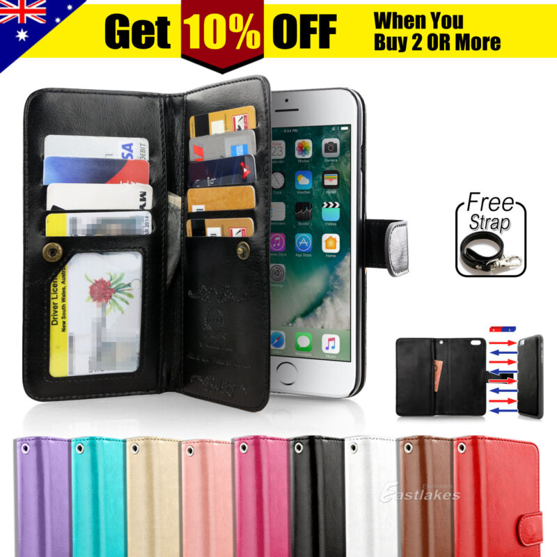 AU9.95 • Buy For IPhone 11 Pro XS MAX XR 8 7 Plus 6s Wallet Magnetic Flip Leather Case Cover