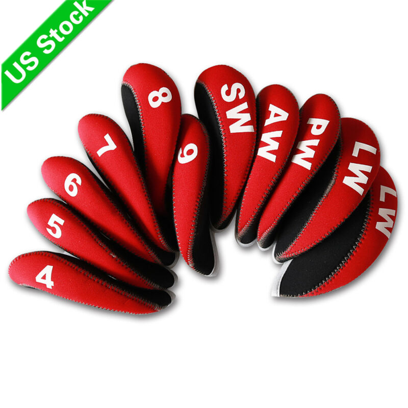 b495e505f0d 11pcs A Set Golf Iron Head Covers Neoprene HeadCovers 4-LW Red Black For  Cobra •