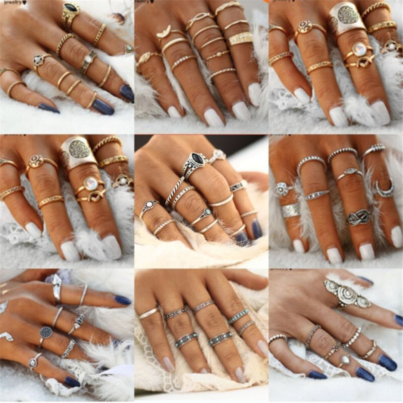 AU1 • Buy 12pcs Silver/Gold Boho Stack Plain Above Knuckle Ring Midi Finger Rings Set Gift