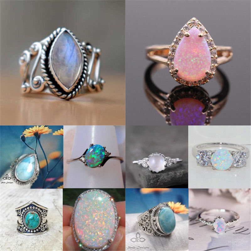 $0.76 • Buy 925 Silver Ring Woman Man White Fire Opal Moon Stone Wedding Engagement Size6-10