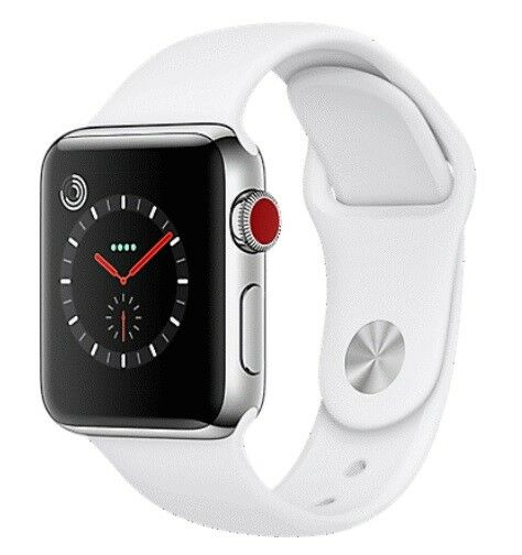 $ CDN289.06 • Buy Apple Watch Series 3 42mm Stainless Steel Case White Band GPS + Cellular) Watch